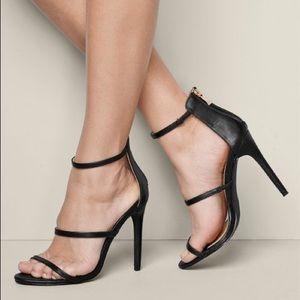 Black Three Strap Minimalist Heels